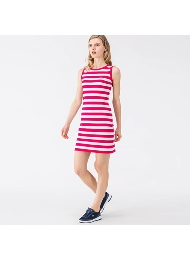Çizgili Kolsuz Kısa Elbise-Lacoste